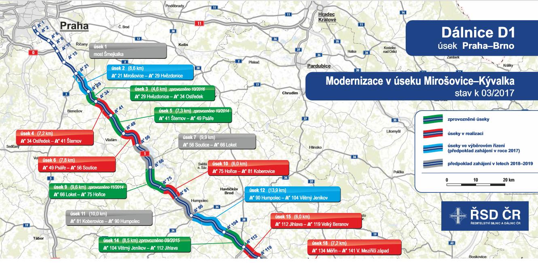 Mapa oprav D1