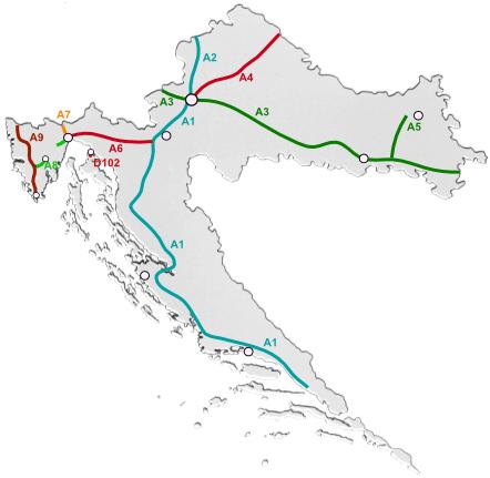 dálniční síť Chorvatsko