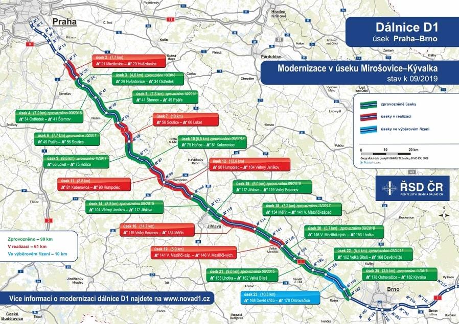 Dálnice D1 - Uzavírky a aktuální stav omezení - Magazín AutoTrip.cz